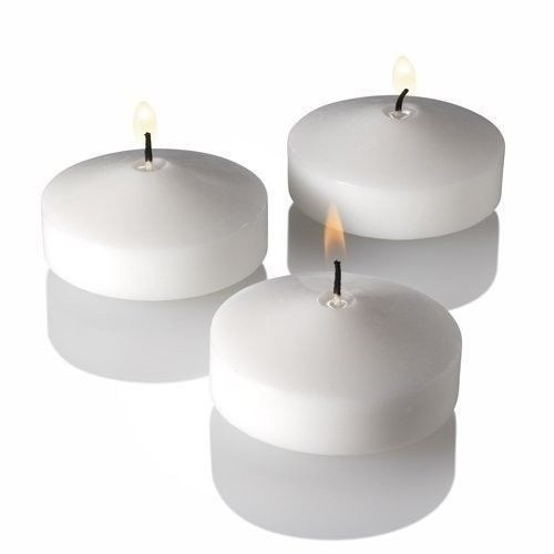 96 White Floating Candles - 3 Inch Floater