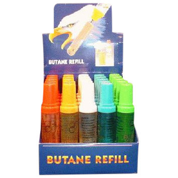 25 Butane Refill Bottles in Display Box