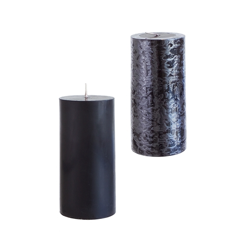24 Black 3x6 Pillar Candles - Solid Hand Poured