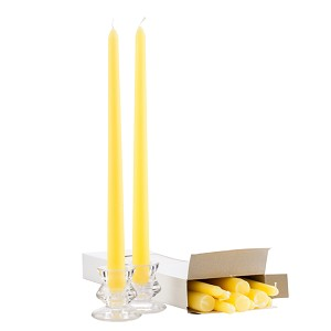 Wholesale Yellow Taper Candles - 12 Inch - Unscented Case of 144