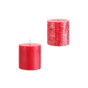 48 Red 3x3 Pillar Candles - Solid Hand Poured