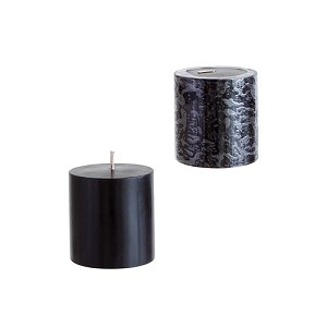 48 Black 3x3 Pillar Candles - Solid Hand Poured